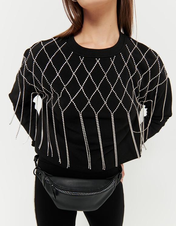 Schwarzes Sweatshirt mit Fransen aus Strass