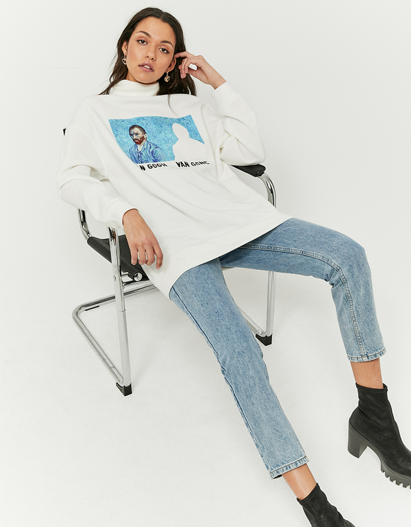 White Long Printed Sweatshirt