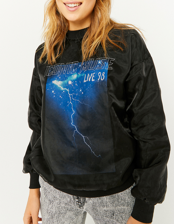 Black Printed Organza Sweatshirt