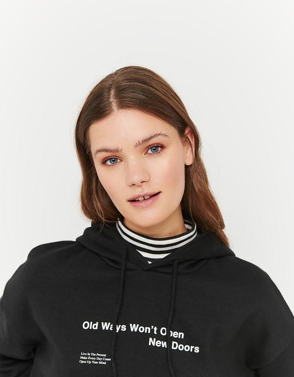 Black Hoodie with Slogan