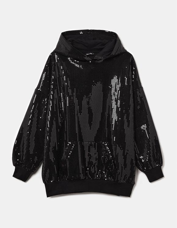 Black Sequins Oversize Hoodie