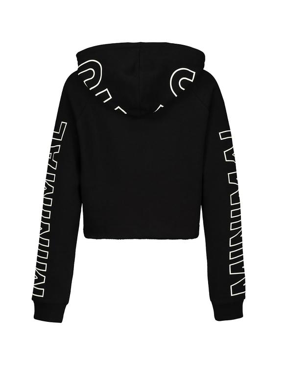 Schwarze kurze Hoodie mit Reißverschluss