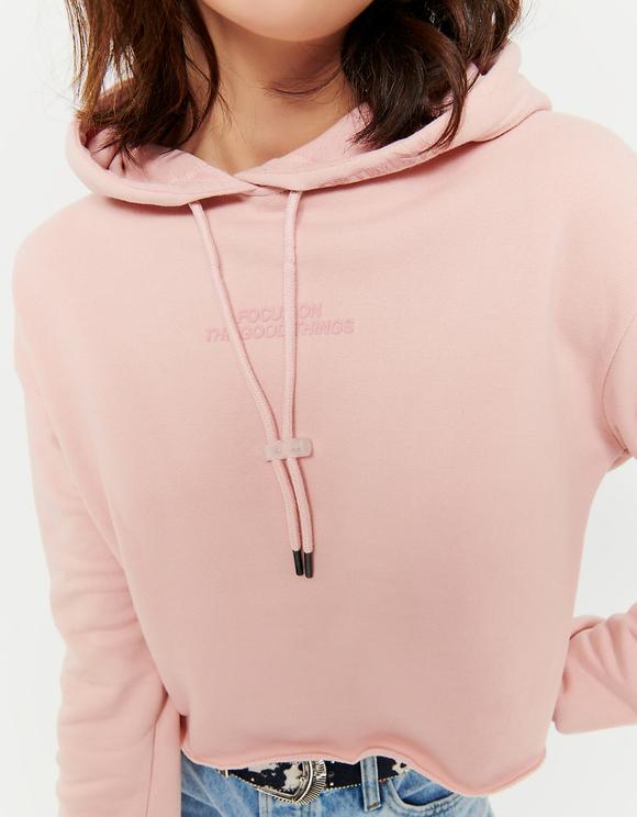 Pink Hoodie with Slogan