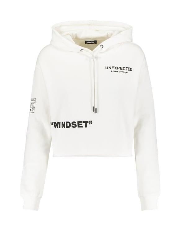 Weiße Hoodie mit Aufschrift