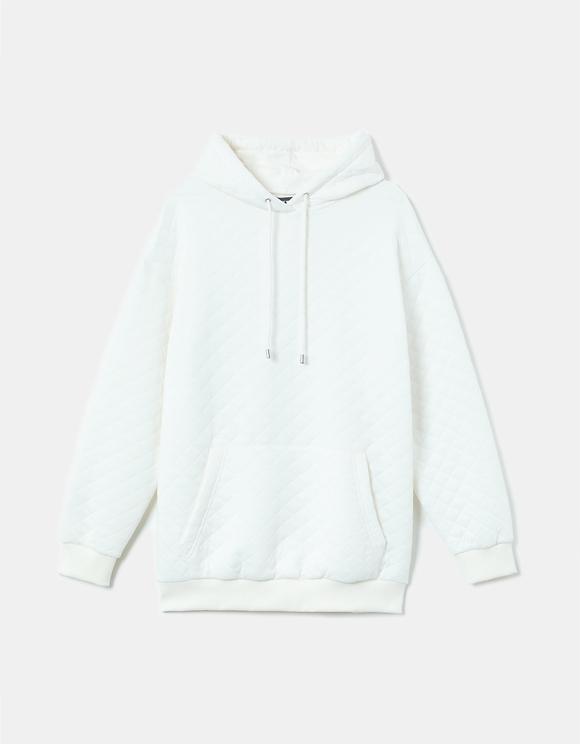 Weißes Sweatshirt aus Waffelmuster