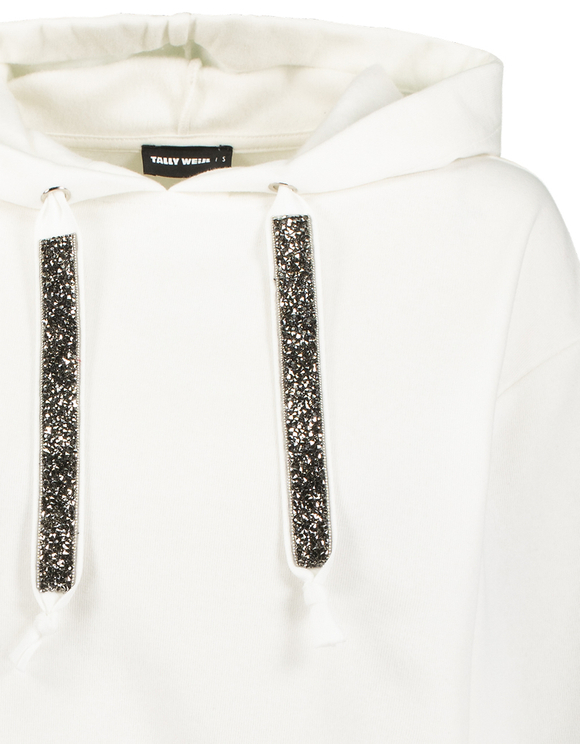 White Hoodie with Strass