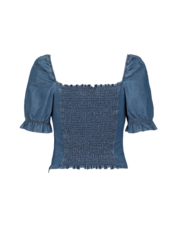 Denim Blouse with Buttons