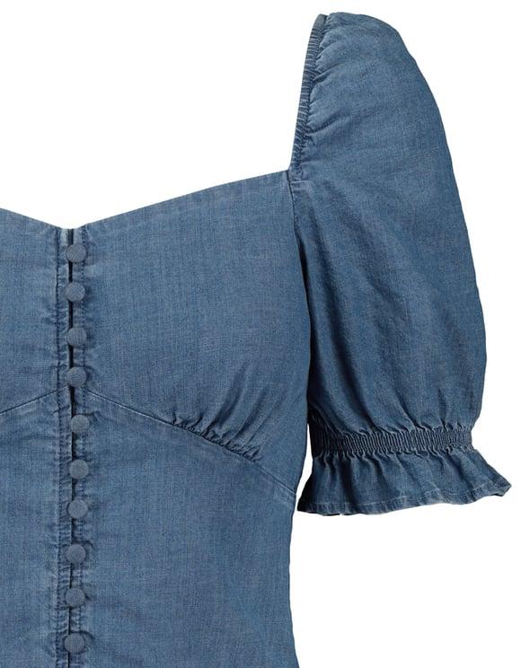 Denim Bluse mit Knöpfen