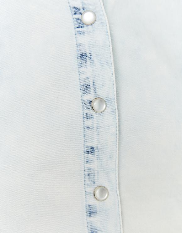 Jeansowa bluzka z falbankami