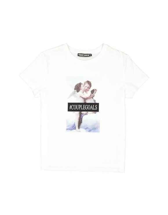 Weißes T-Shirt mit Engel-Aufdruck