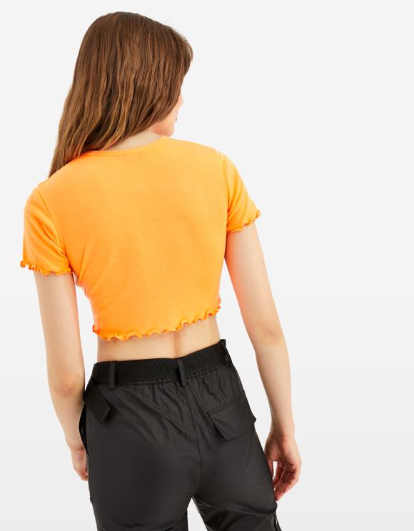 Orange Slogan Crop Top