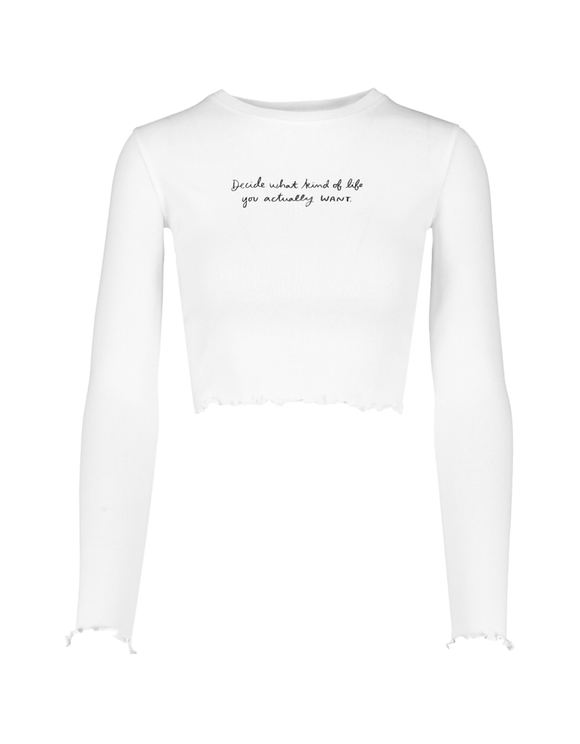 Crop Top Blanc Imprimé Slogan