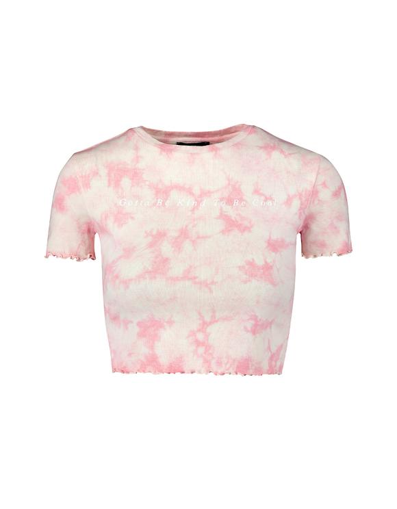 Pink Lettuce Hem Crop Top