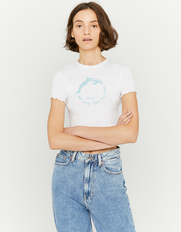 White Lettuce Hem Crop Top