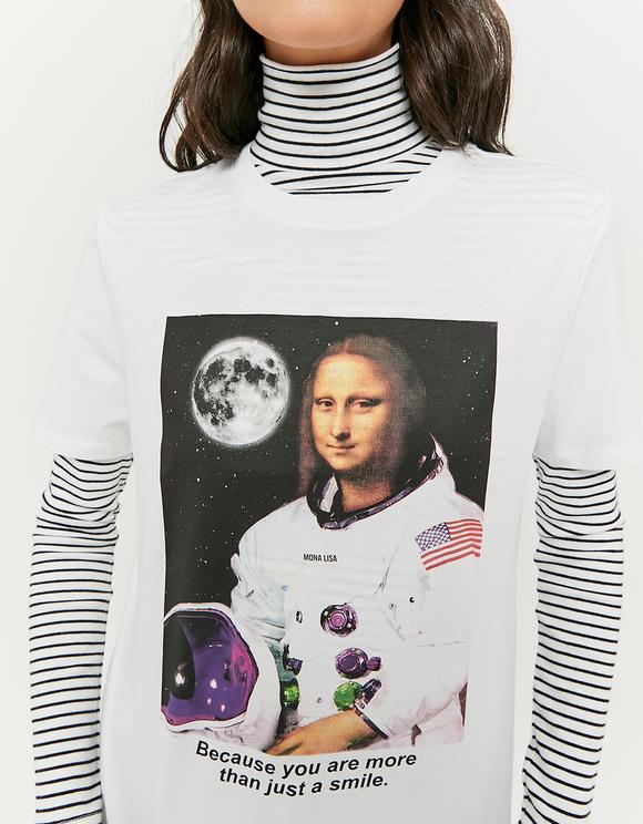 T-Shirt Blanc avec Imprimé