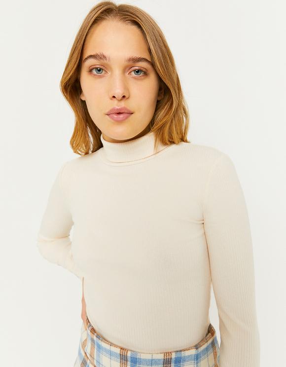 Beige Long Sleeves Top
