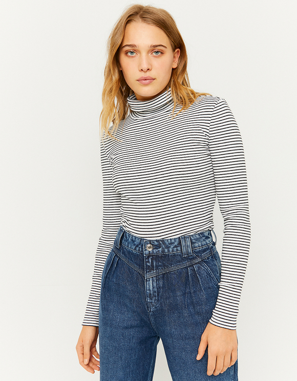 Striped High Neck Top