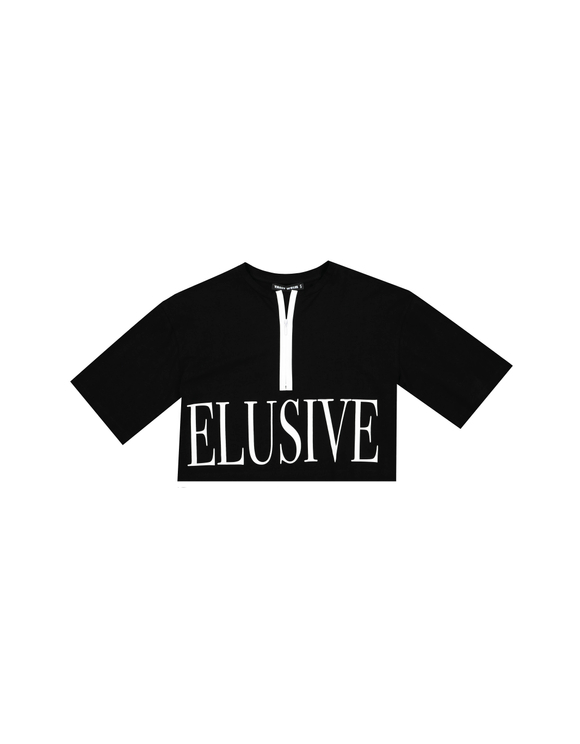 Black Slogan Crop Top