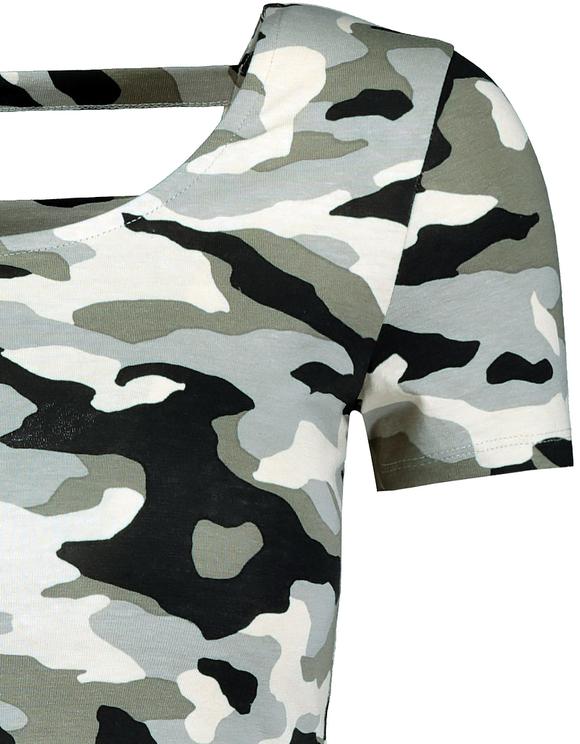 Top Camouflage Découpe dans le Dos