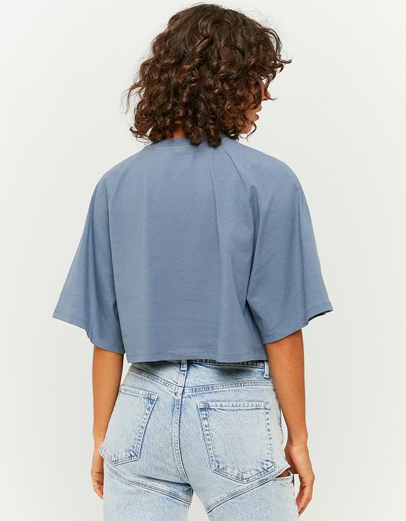 Blaues bedrucktes Oversize Crop Top
