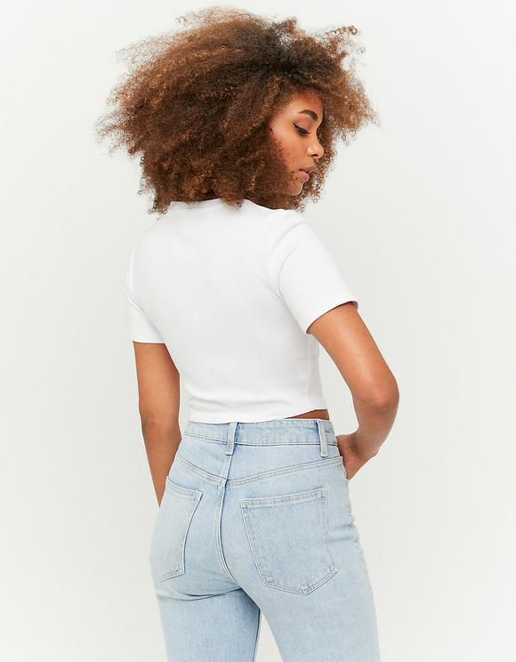 White Printed Basic T-Shirt