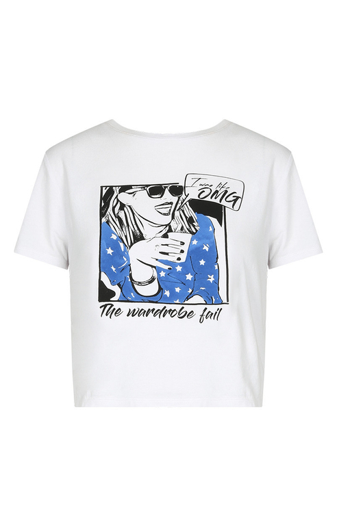 Weißes T-Shirt mit Cartoon Print