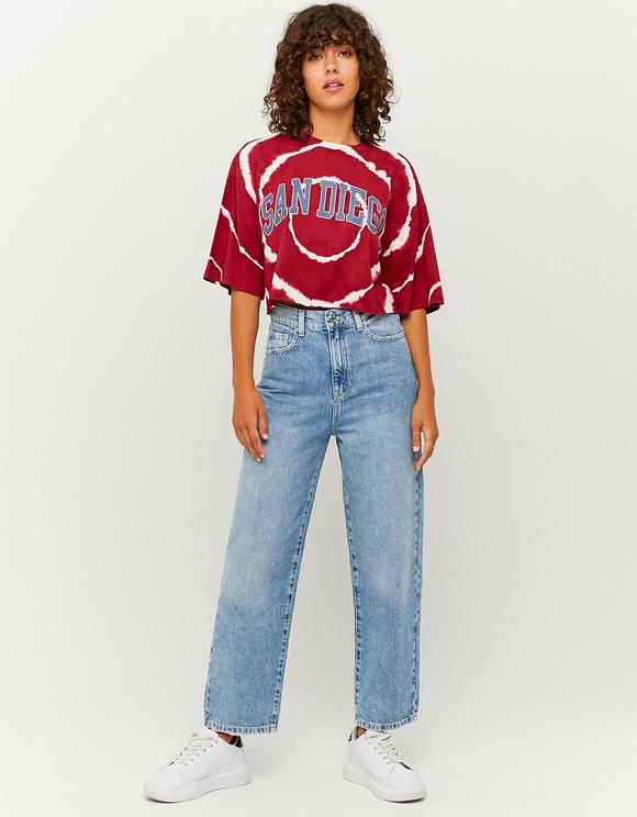 Rotes bedrucktes Oversize T-Shirt
