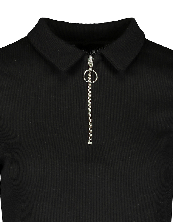 Black Polo With Zip