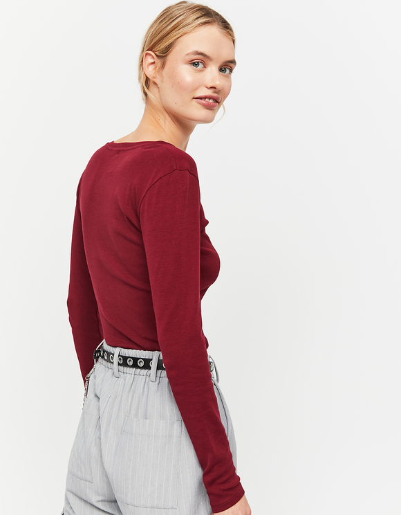Burgundy Basic V Neck Top