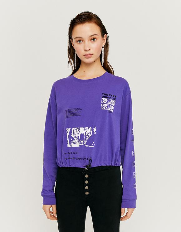 Top Violet Imprimé
