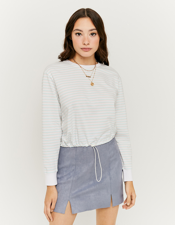 Striped Elastic Hem Top