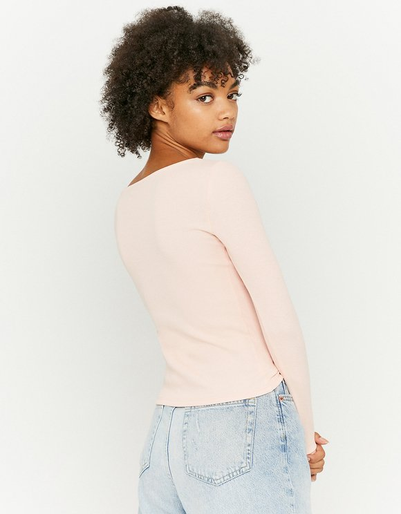 Pink Top with Lace Trim Neckline
