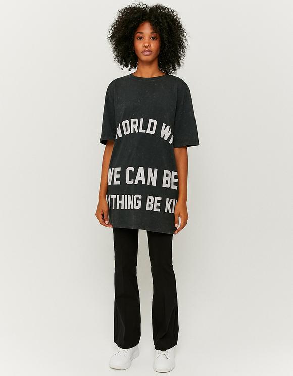 Graues bedrucktes Oversize T-Shirt