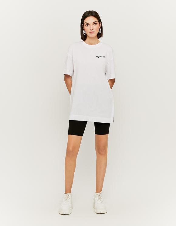 White Slogan Print Long T-Shirt