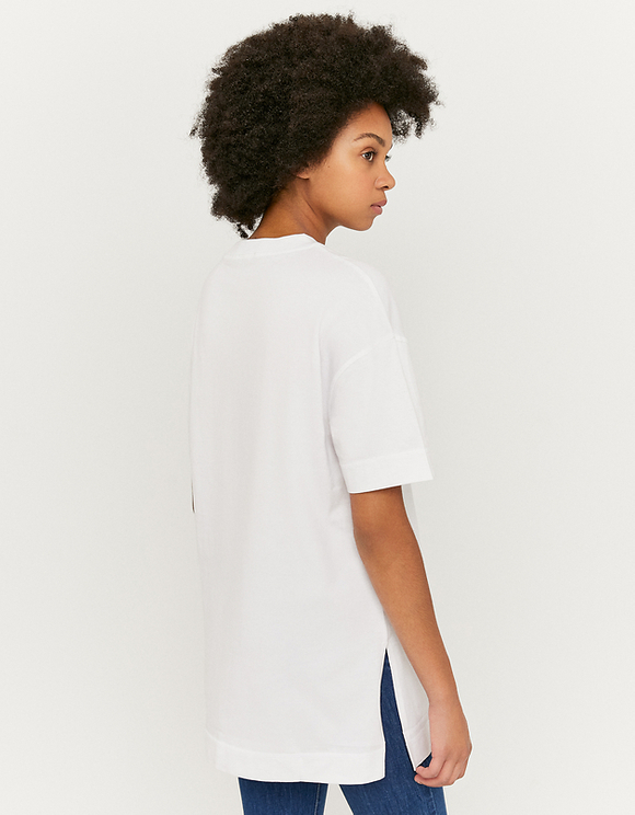 White Printed Long T-Shirt