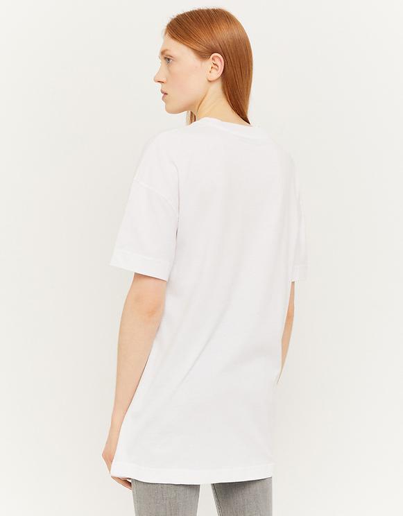 White Printed Long T-Shirt