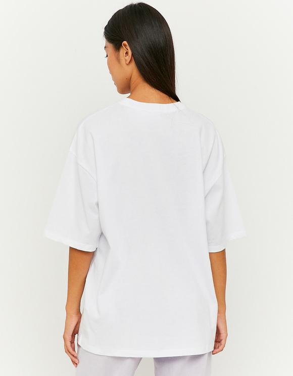 Maglietta Bianca Stampata Oversize