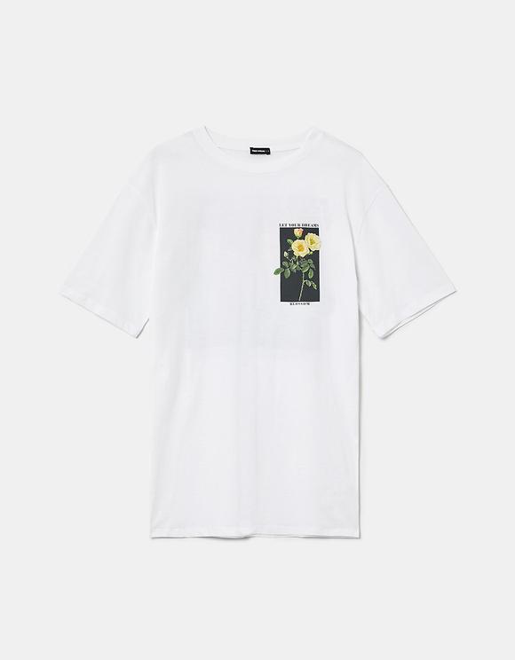 Weißes bedrucktes Oversize T-Shirt