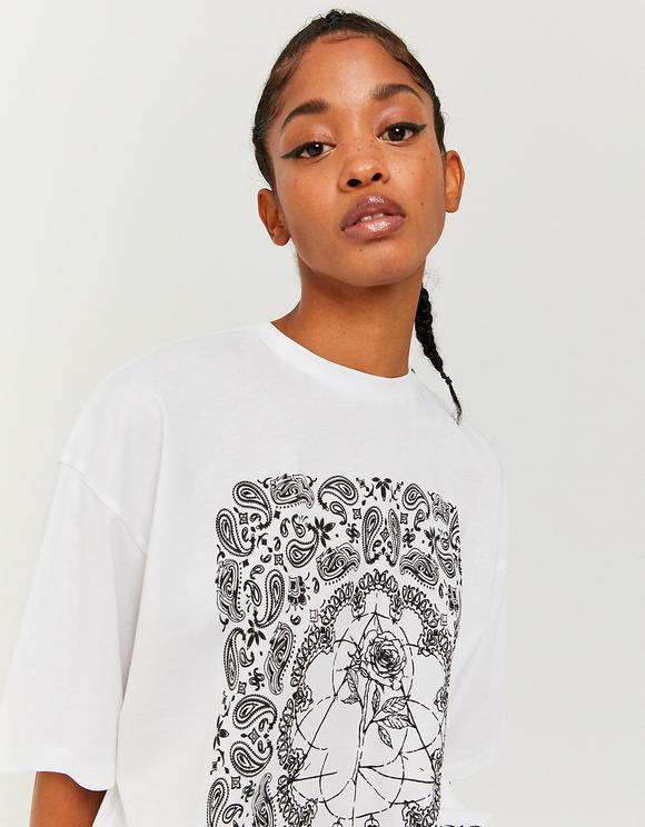 White Printed Oversize T-Shirt
