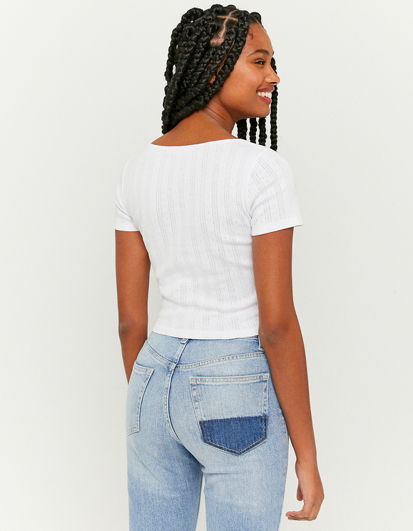 White T-Shirt with Tie Sides