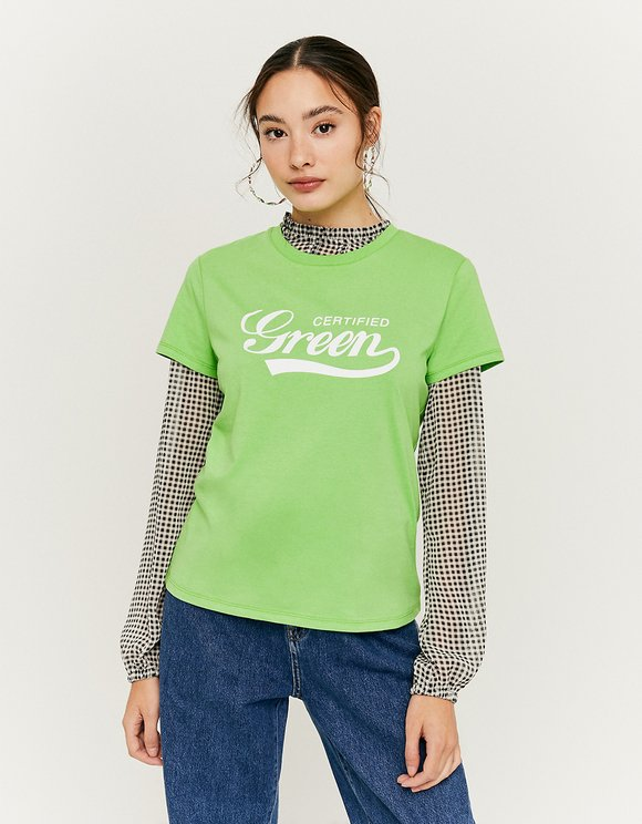 Lime Green Printed T-Shirt