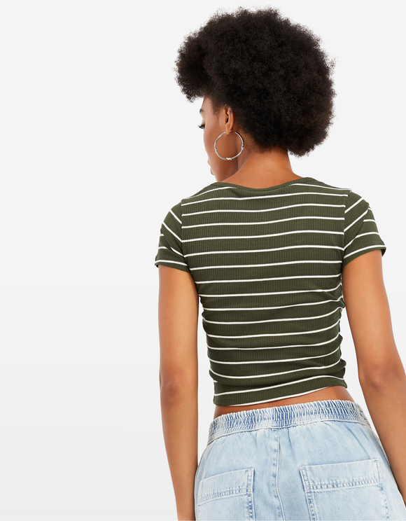 Khaki Striped Crop Top