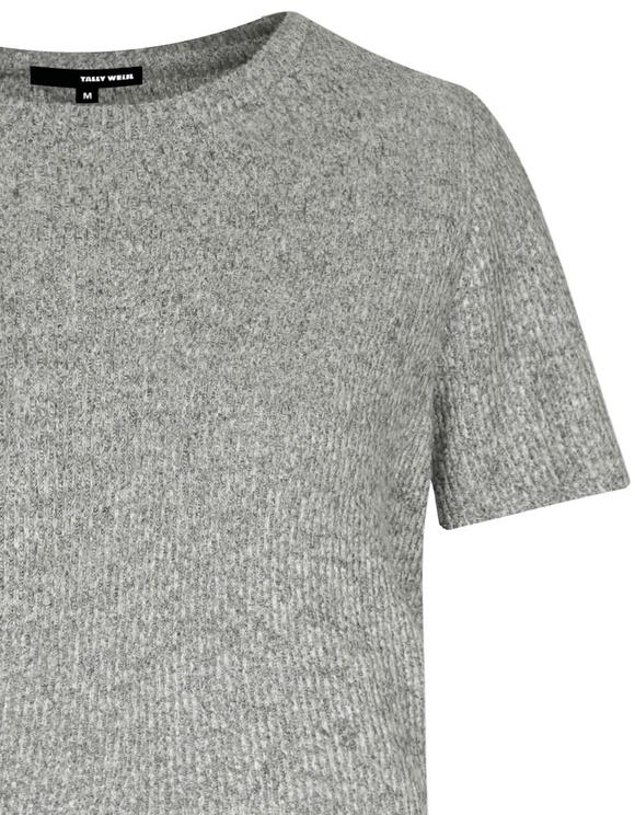 Hellgraues geripptes T-Shirt