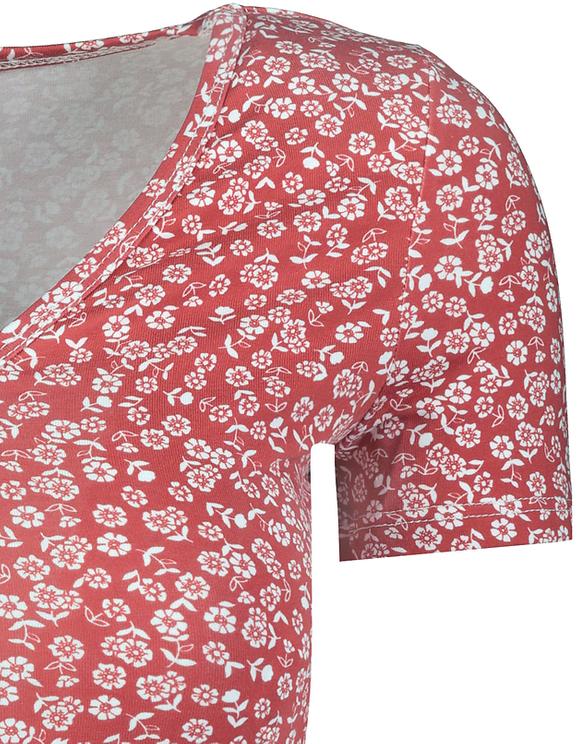 Crop Top Rouge Imprimé Fleuri