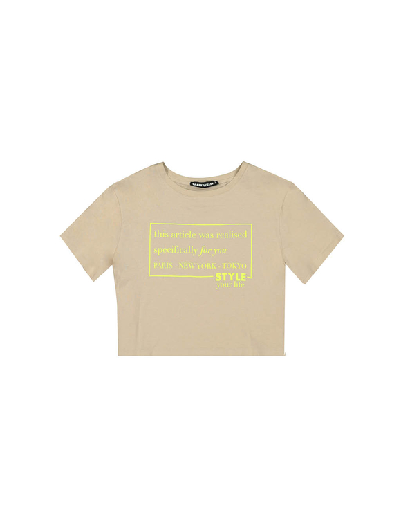Beżowy t-shirt CROPPED