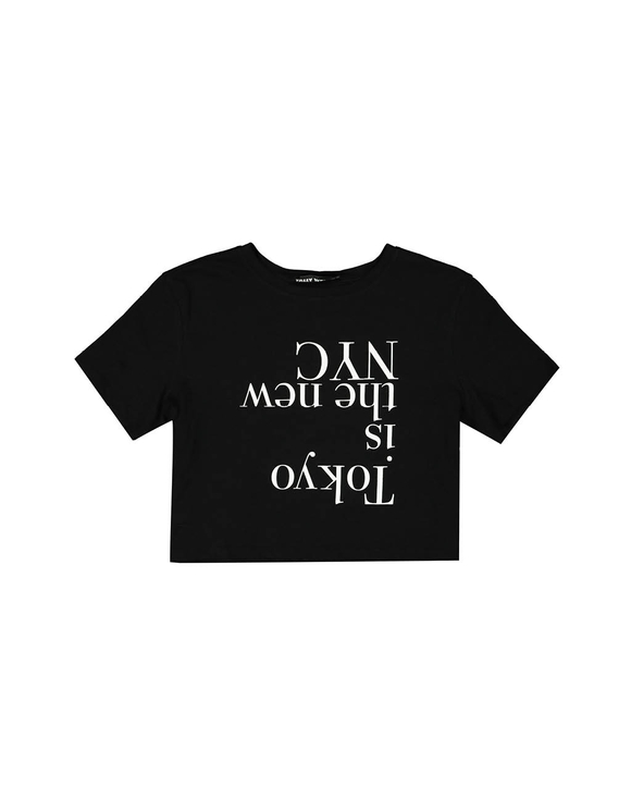 Black Crop Top with Slogan