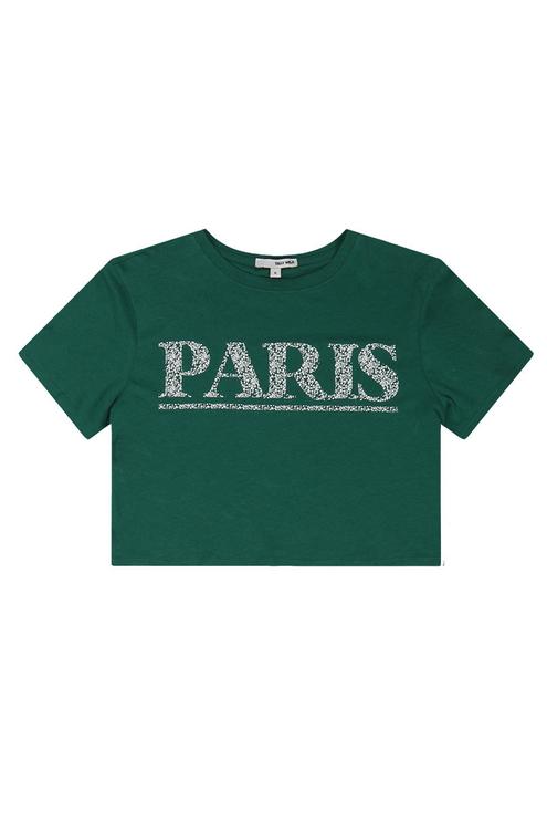 "Green ""Paris"" Crop Top"
