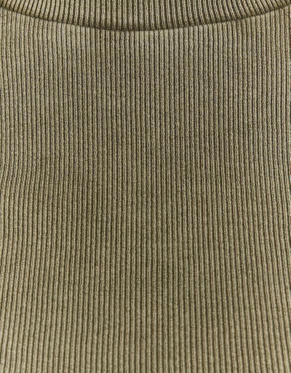 Ribbed Khaki Acid Wash Crop Top