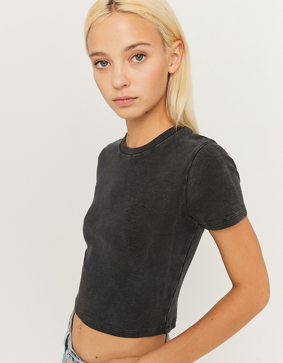 Ribbed Acid Wash Crop Top