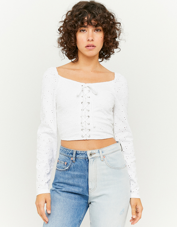 Crop Top Blanc Broderie Anglaise